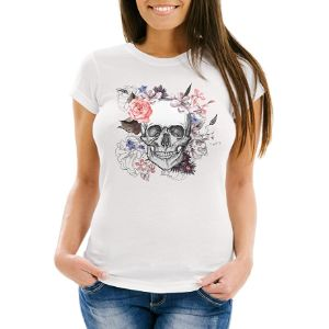 camiseta calavera flores mujer